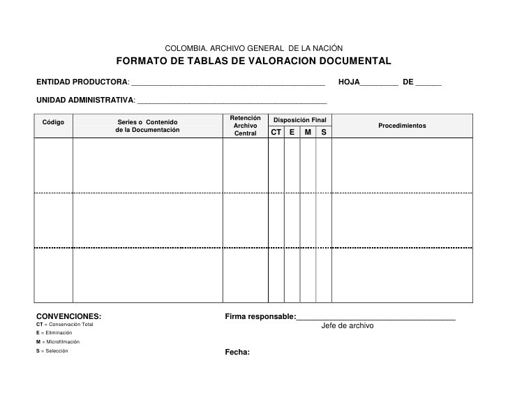 formato de tabla de valoracion documental